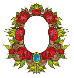 beautiful oval frame with roses baroque vector image