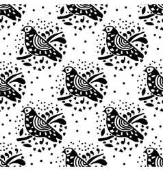 Black and white bird pattern vector image