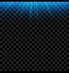blue bright light rays with realistic glowing vector image