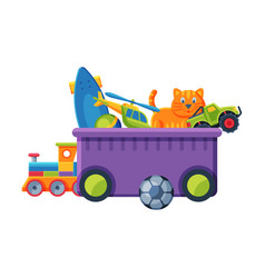 box with various colorful toys plastic container vector image