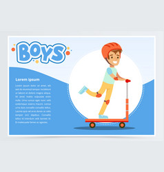 Boy riding kick scooter boys banner for vector