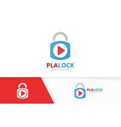 Button play and lock logo combination vector
