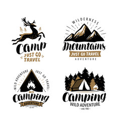 Campaign logo or label hiking trip hike icon set vector