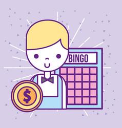 Casino croupier male bingo game dollar coin vector