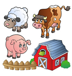 collection of various farm animals vector image