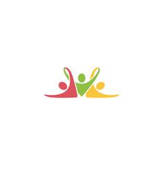 creative colorful three people logo vector image