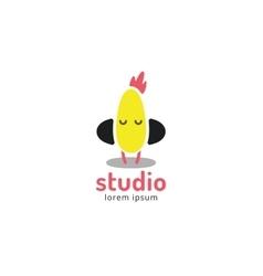Cute chick silhouette logo icon chicken music vector