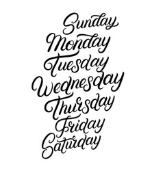 Days of a week hand written lettering vector