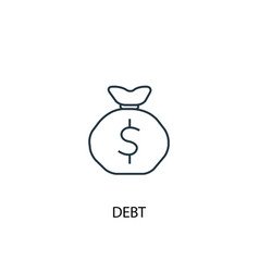 debt concept line icon simple element vector image