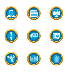 Department of commerce icons set flat style vector
