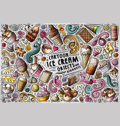 doodle cartoon set of ice cream items vector image