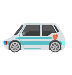 electrocar isolated in light color with blue vector image