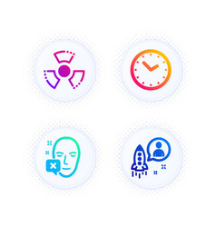 Face declined time and chemical hazard icons set vector