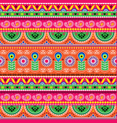 floral seamless folk art pattern - indian vector image