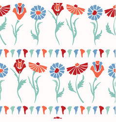 flower stems all over print colorful blooms vector image