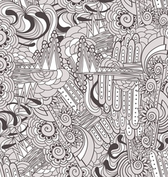 Freehand seamless drawings with doodle elements vector image