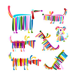 funny dog colorful collection for your design vector image