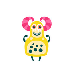 Funny yellow cartoon monster with pink horns vector