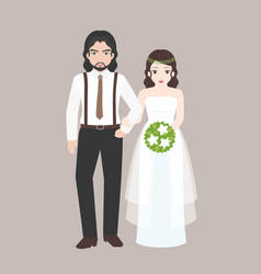 groom walk arm in arm with bridge vector image