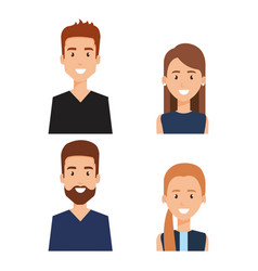 Group of people avatars characters vector