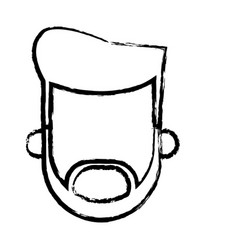 Head man male beard hairstyle person sketch vector