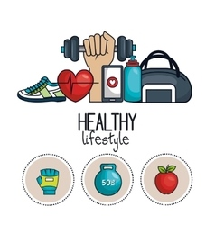 Healthy lifestyle concept icons sport design vector