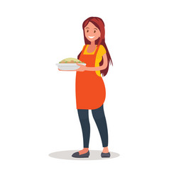 housewife in apron preparing food in kitchen vector image