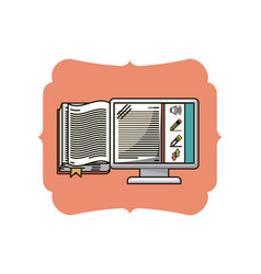 isolated ebook inside frame design vector image