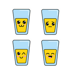 Kawaii glass juice faces icon vector