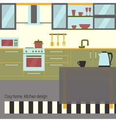 Kitchen interior flat design with furniture and vector image