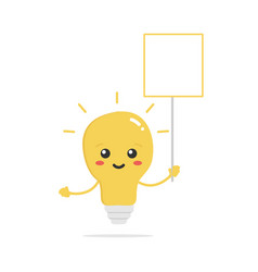 light bulb lamp character holding empty banner vector image