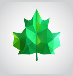 Low poly green leaf vector