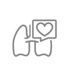 lungs with heart in speech bubble line icon vector image