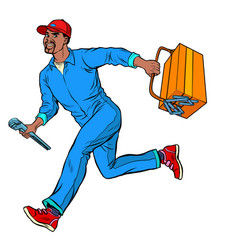 male african master repairman runs vector image
