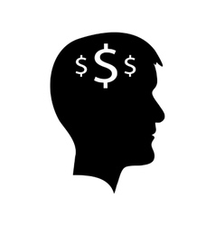 Man head with dollar signs vector image