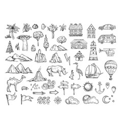 map elements sketch hill and mountain tree vector image