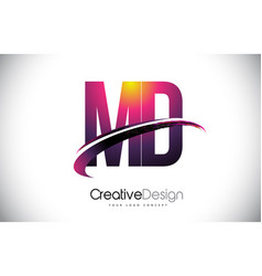 Md m d purple letter logo with swoosh design vector