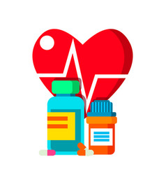 medical bottle pills on background of heart and vector image