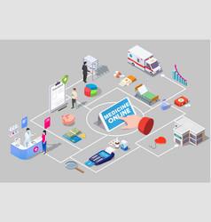 medicine online isometric flowchart vector image