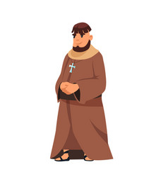 Medieval catholic priest in cassock stand on white vector