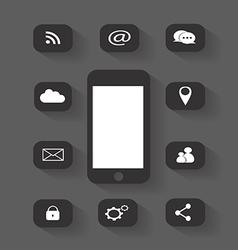 Mobile phone icon media round vector