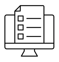monitor with document thin line icon list on vector image