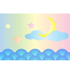 Moon and star over the sea vector