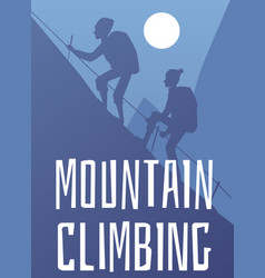 mountain climbing banner with alpinists vector image