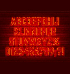 Neon bright red font with numbers and punctuation vector