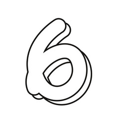 Outlined number six on white background vector