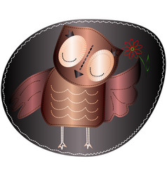 Owl is holding a flower imitation stripe vector