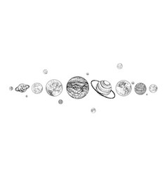 Planets lined up in row solar system drawn vector
