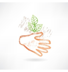Plant and hand grunge icon vector