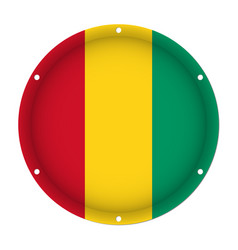 Round metallic flag of guinea with screw holes vector